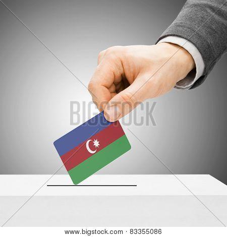 Voting Concept - Male Inserting Flag Into Ballot Box - Azerbaijan