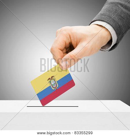Voting Concept - Male Inserting Flag Into Ballot Box - Ecuador