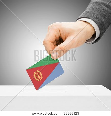 Voting Concept - Male Inserting Flag Into Ballot Box - Eritrea