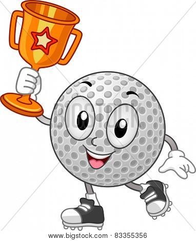 Mascot Illustration of a Golf Ball Holding a Trophy