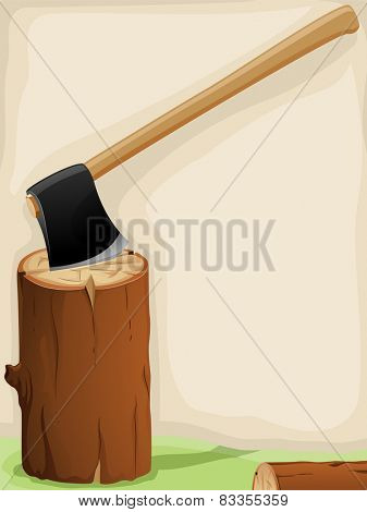 Background Illustration of an Axe Lodged on a Piece of Log