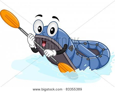Mascot Illustration of a Water Raft Using a Paddle