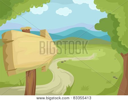 Illustration of a Wooden Sign Pointing Towards a Road Surrounded by Greenery