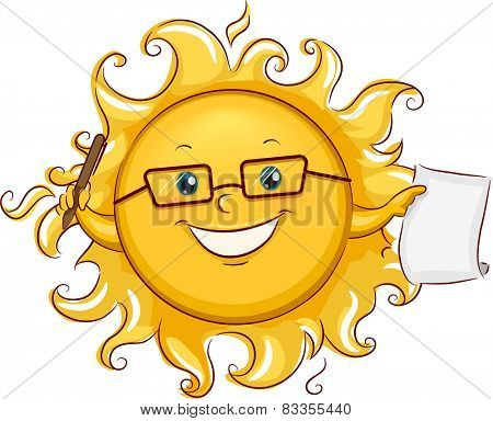 Illustration of the Sun Holding a Pen and a Piece of Paper