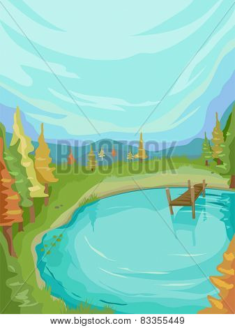 Illustration of a Lovely Lake Surrounded by Autumn Trees