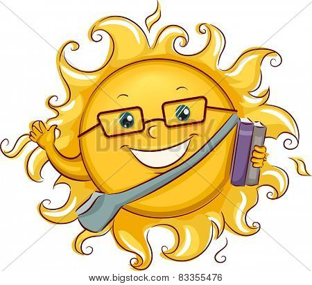 Illustration of the Sun Going to His Summer Class