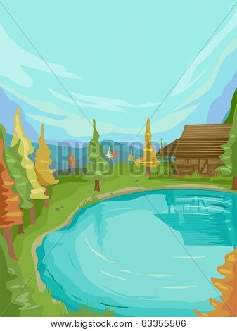 Illustration of a Small Cabin Standing Beside a Calm Lake