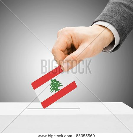 Voting Concept - Male Inserting Flag Into Ballot Box - Lebanon