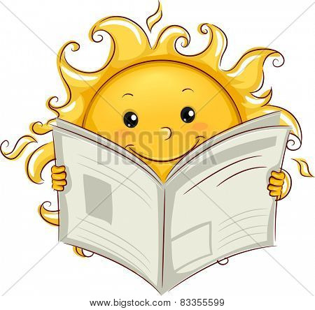 Illustration of the Sun Reading the Newspaper