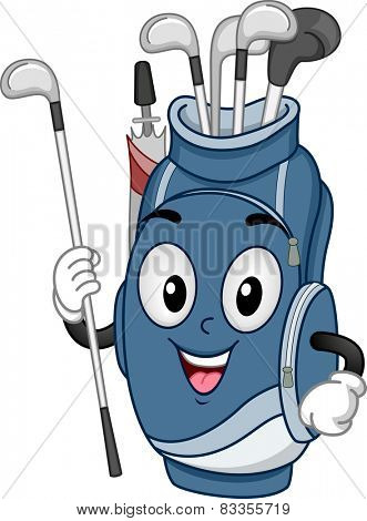 Mascot Illustration of a Golf Bag Carrying Golf Clubs