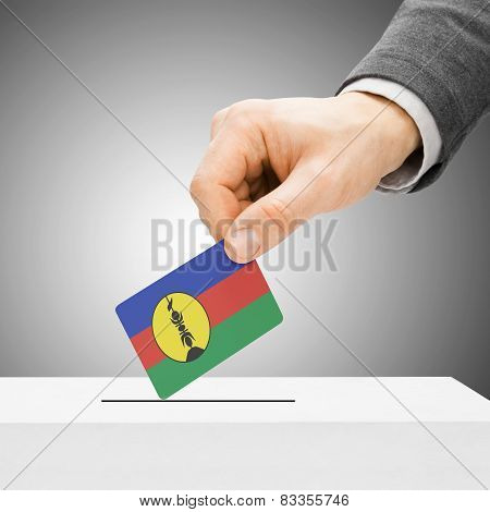 Voting Concept - Male Inserting Flag Into Ballot Box - New Caledonia