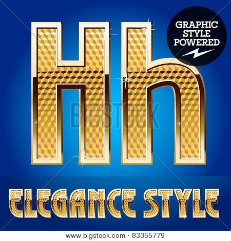 Vector set of rich shining alphabet with golden border. Letter H