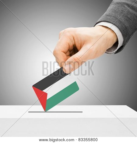 Voting Concept - Male Inserting Flag Into Ballot Box - Palestine