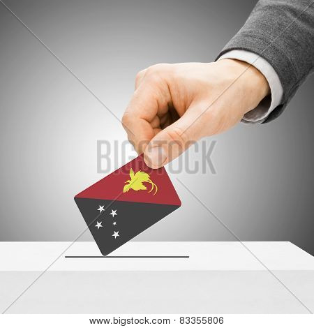 Voting Concept - Male Inserting Flag Into Ballot Box - Papua New Guinea