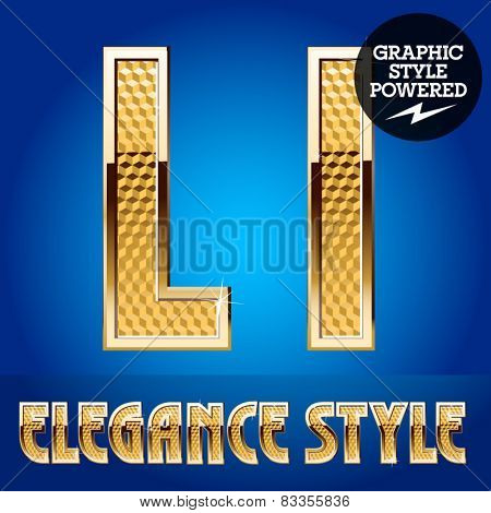 Vector set of rich shining alphabet with golden border. Letter L