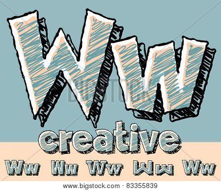 Funny sketch alphabet. Vector illustration of hand drawing font. Letter W