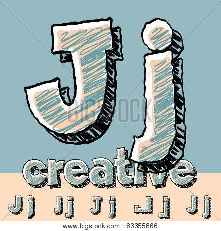 Funny sketch alphabet. Vector illustration of hand drawing font. Letter J