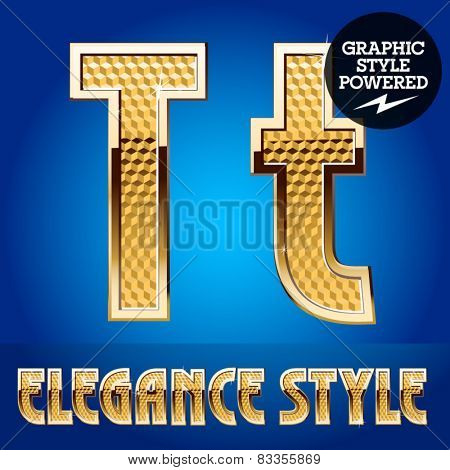 Vector set of rich shining alphabet with golden border. Letter T