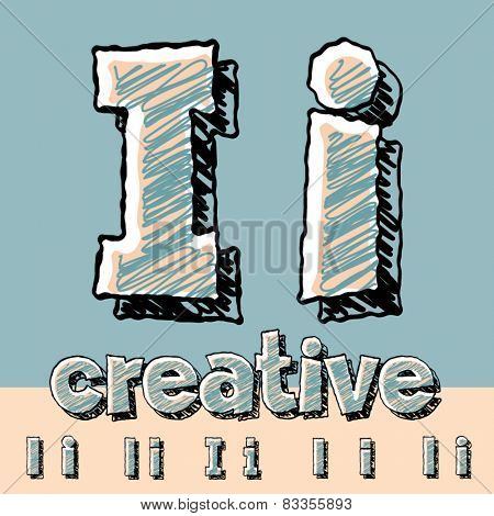 Funny sketch alphabet. Vector illustration of hand drawing font. Letter I