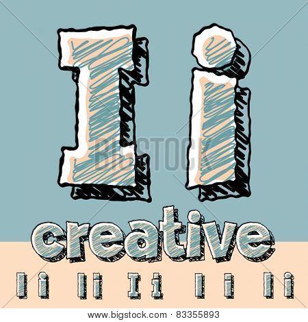 Funny sketch alphabet. Vector illustration of hand drawing font. Letter I