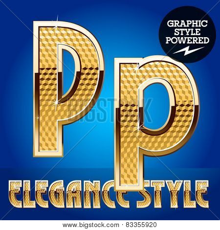 Vector set of rich shining alphabet with golden border. Letter P
