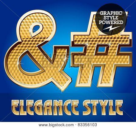 Vector set of rich shining alphabet with golden border. Symbols 2