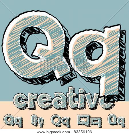 Funny sketch alphabet. Vector illustration of hand drawing font. Letter Q