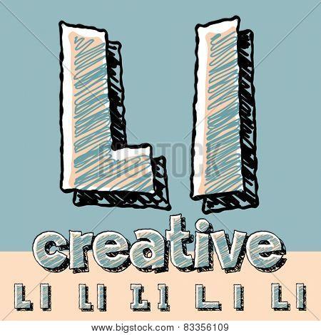 Funny sketch alphabet. Vector illustration of hand drawing font. Letter L