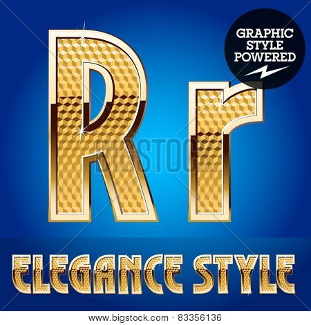 Vector set of rich shining alphabet with golden border. Letter R