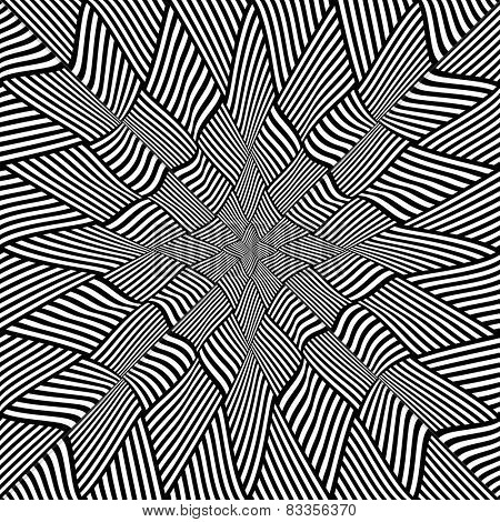 Interlacing pattern. Abstraction consisting of striped distorted tetragonal elements. Vector art.