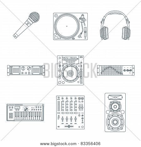 various dark outline sound devices icons set