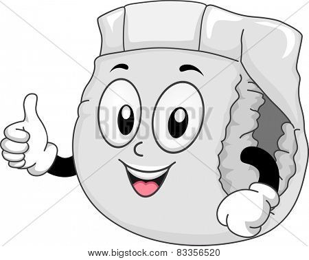 Mascot Illustration of a Diaper Giving a Thumbs Up
