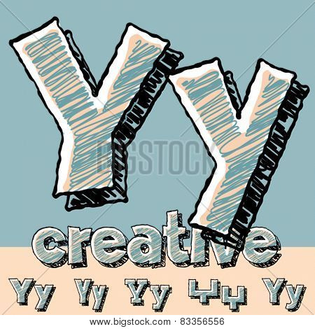 Funny sketch alphabet. Vector illustration of hand drawing font. Letter Y