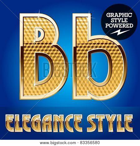 Vector set of rich shining alphabet with golden border. Letter B