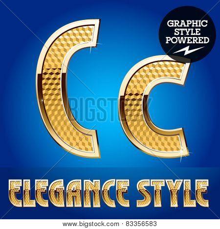 Vector set of rich shining alphabet with golden border. Letter C