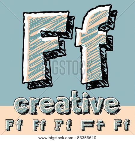 Vector set of funny sketch alphabet. Vector illustration of hand drawing font. Letter F
