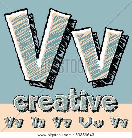 Funny sketch alphabet. Vector illustration of hand drawing font. Letter V