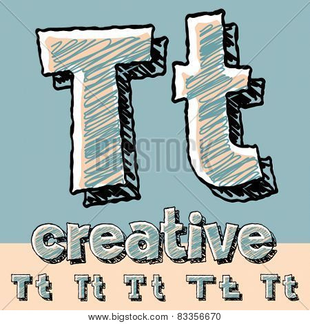 Funny sketch alphabet. Vector illustration of hand drawing font. Letter T