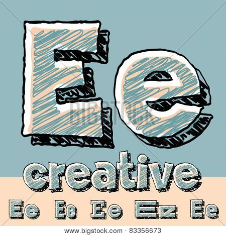 Vector set of funny sketch alphabet. Vector illustration of hand drawing font. Letter E