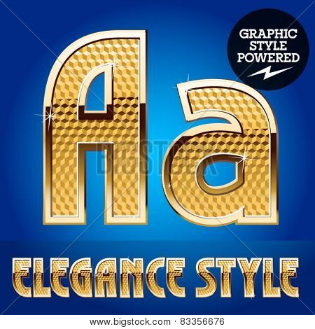 Vector set of rich shining alphabet with golden border. Letter A