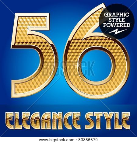 Vector set of rich shining alphabet with golden border. Numbers 5 6