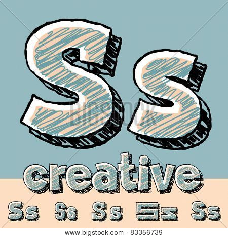 Funny sketch alphabet. Vector illustration of hand drawing font. Letter S