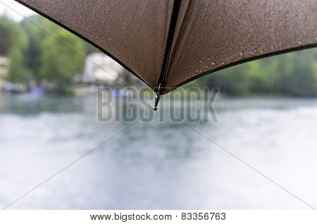 Umbrella with raindrops, detail. Color photo