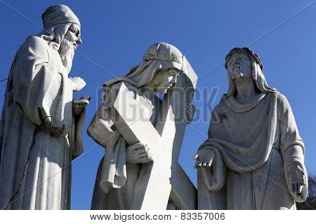 MARIJA BISTRICA, CROATIA - OCTOBER 26: 2nd Stations of the Cross, Jesus is given his cross, pilgrimage Sanctuary, Assumption of the Virgin Mary in Marija Bistrica, Croatia, on October 26, 2013