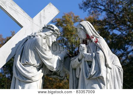 MARIJA BISTRICA, CROATIA - OCTOBER 26: 4th Stations of the Cross, Jesus meets His Mother,  pilgrimage Sanctuary, Assumption of the Virgin Mary in Marija Bistrica, Croatia, on October 26, 2013