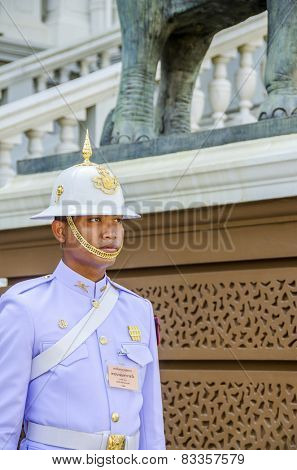 BANGKOK, THAILAND, DECEMBER 26, 2013: A sentry on duty in Royal Palace complex