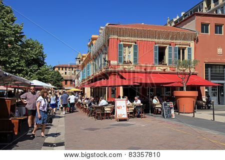 Outdoor French Restaurant On Cours Saleya, Nice, France.