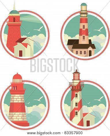 Set Of Icons Lighthouses
