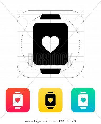 Heart on smart watch icon.