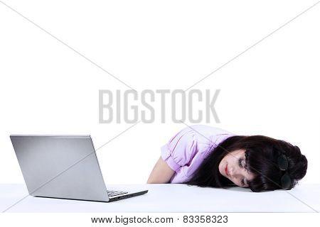 Businesswoman Sleeping On Desk Isolated